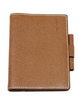 Hermes Brown Leather Mini Notebook 1