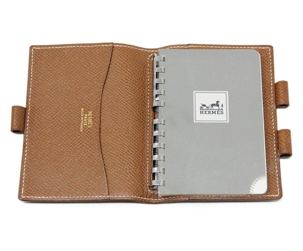 Hermes Brown Leather Mini Notebook 3