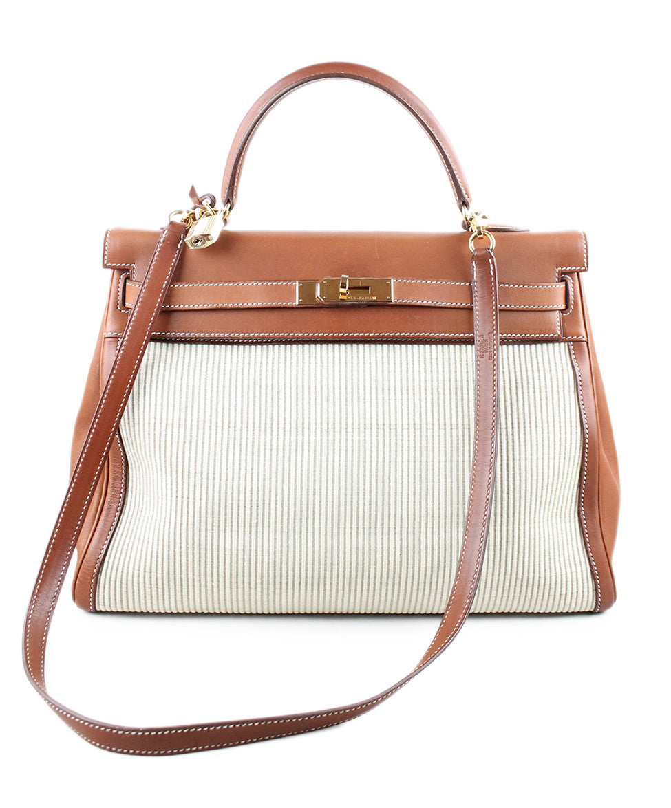 Gold Hardware Hermes Neutral Tan Leather Raffia W/Strap W/Dust Cover Handbag - Michael's Consignment NYC  - 1