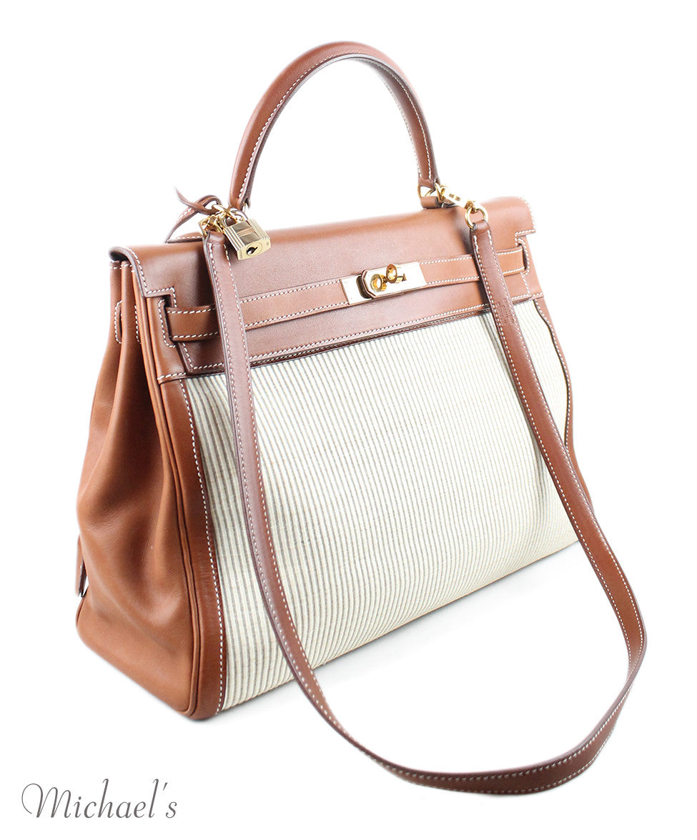 Gold Hardware Hermes Neutral Tan Leather Raffia W/Strap W/Dust Cover Handbag - Michael's Consignment NYC  - 2