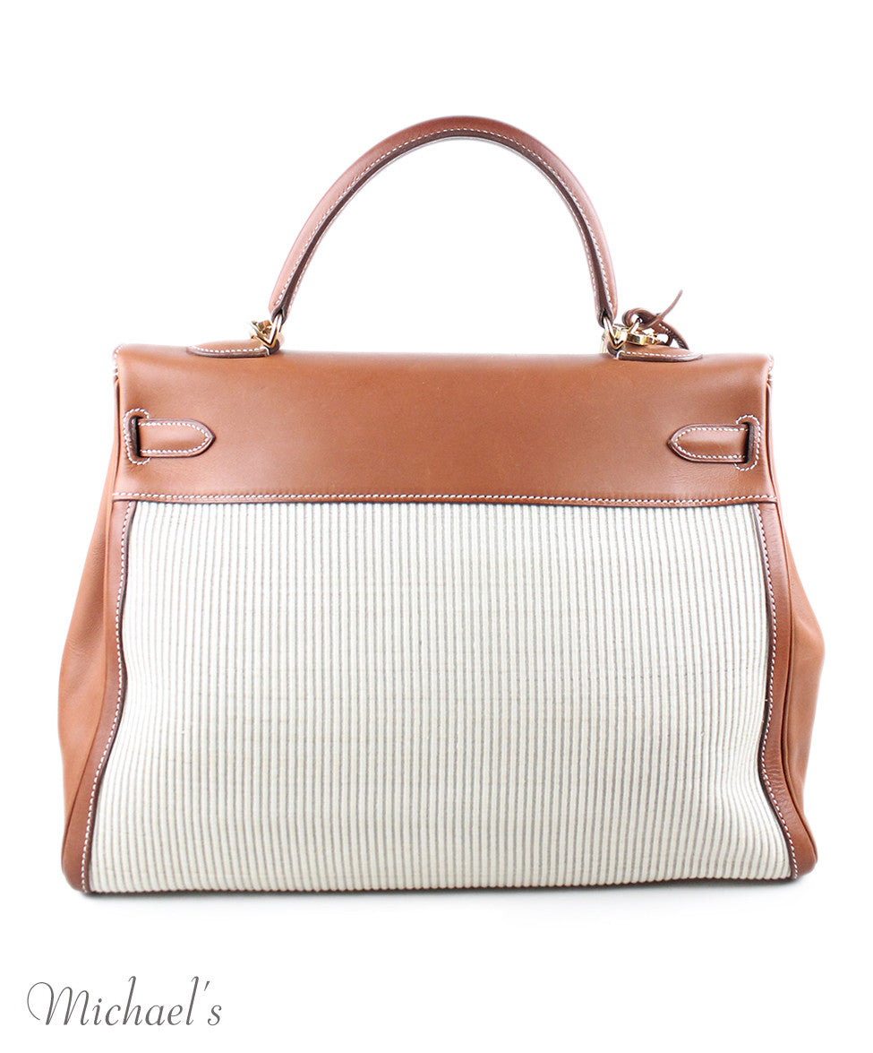 Gold Hardware Hermes Neutral Tan Leather Raffia W/Strap W/Dust Cover Handbag - Michael's Consignment NYC  - 3
