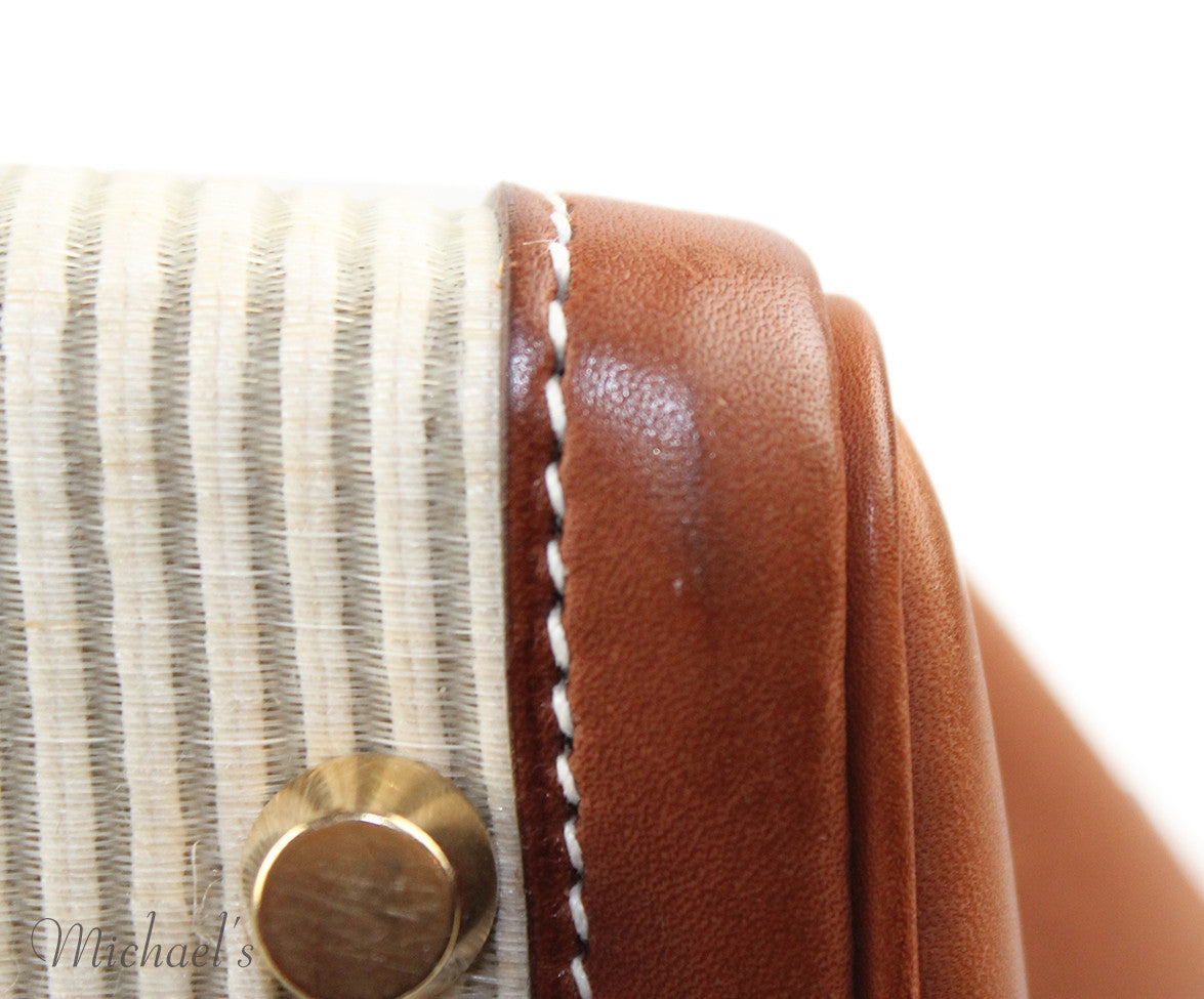 Gold Hardware Hermes Neutral Tan Leather Raffia W/Strap W/Dust Cover Handbag - Michael's Consignment NYC  - 8