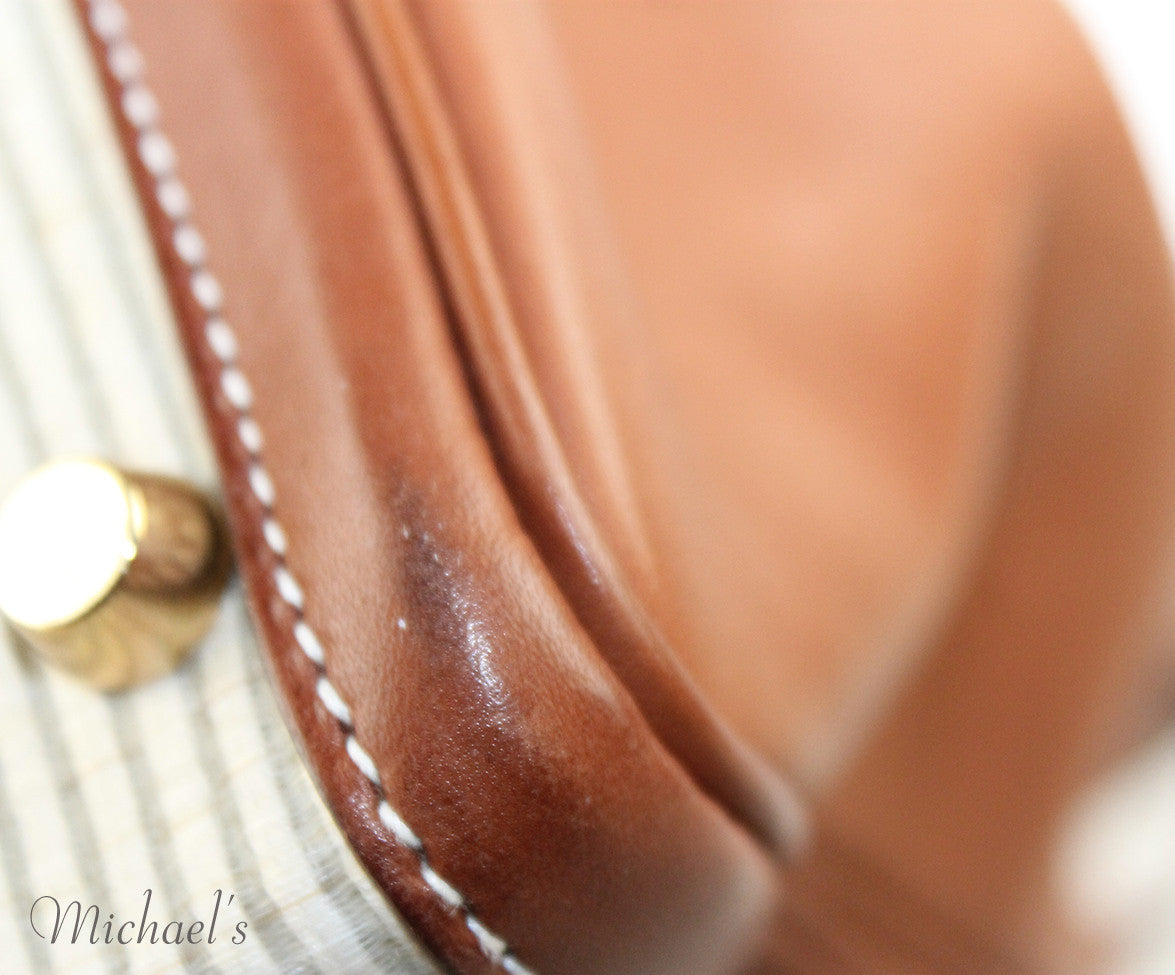 Gold Hardware Hermes Neutral Tan Leather Raffia W/Strap W/Dust Cover Handbag - Michael's Consignment NYC  - 9
