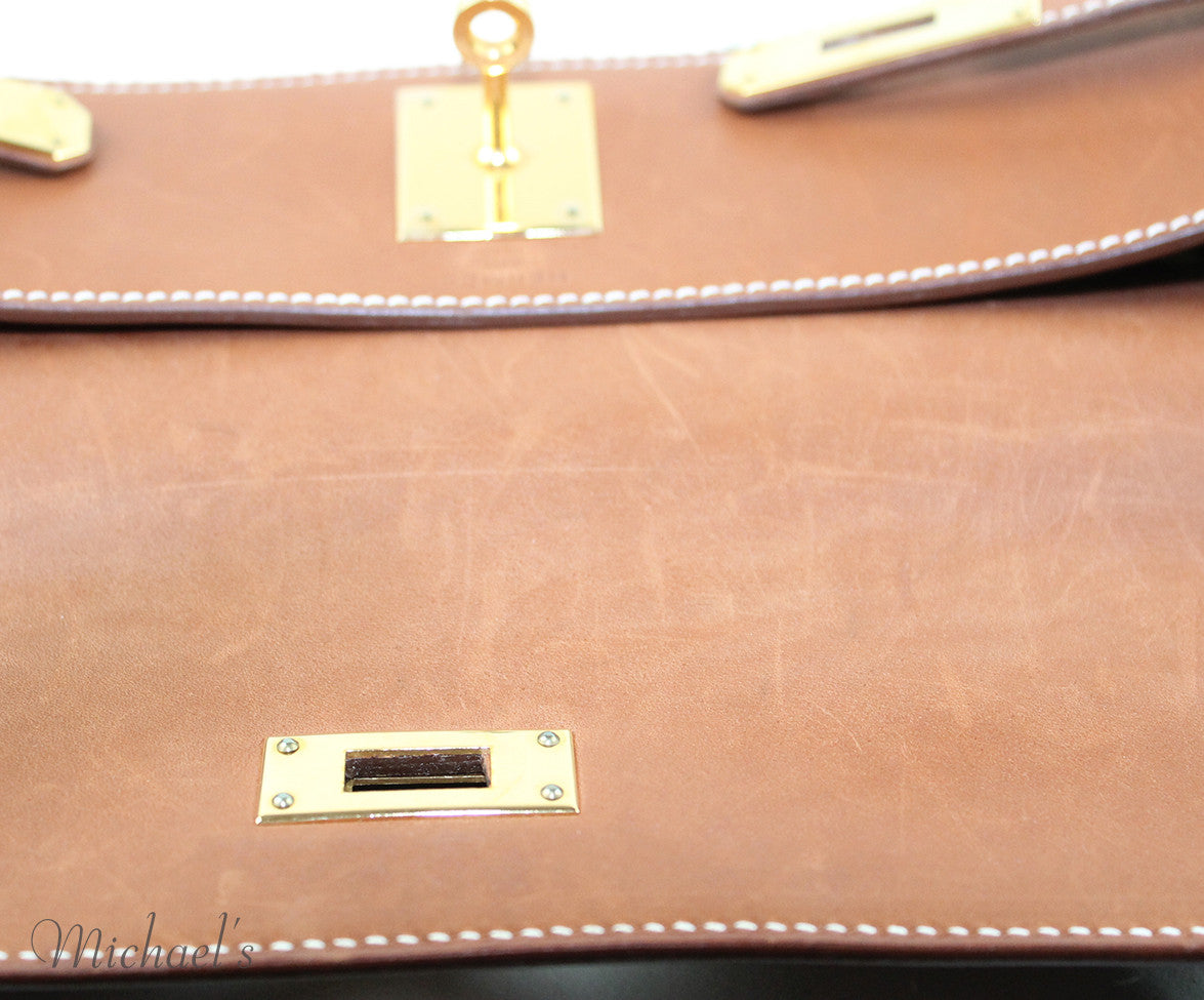 Gold Hardware Hermes Neutral Tan Leather Raffia W/Strap W/Dust Cover Handbag - Michael's Consignment NYC  - 11