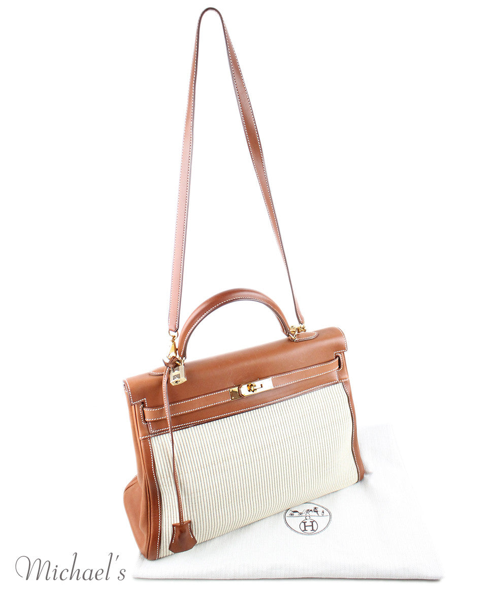 Gold Hardware Hermes Neutral Tan Leather Raffia W/Strap W/Dust Cover Handbag - Michael's Consignment NYC  - 20