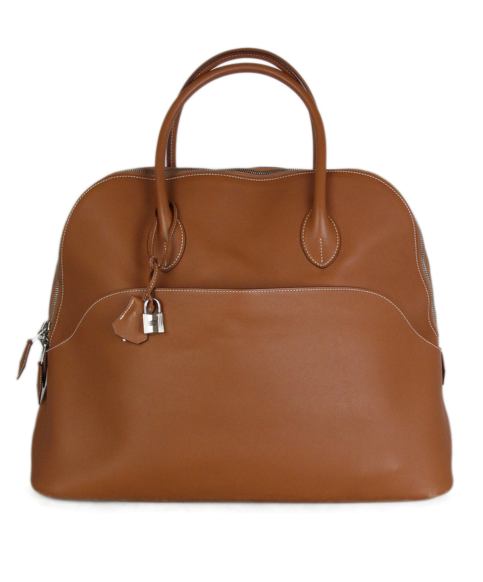 1c54830ac Hermes Neutral Tan Leather White Stitching W/Dust Cover Handbag ...