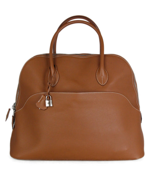 Hermes Tan Leather white stitching travel bolide bag 1