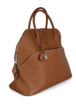 Hermes Tan Leather white stitching travel bolide bag 2