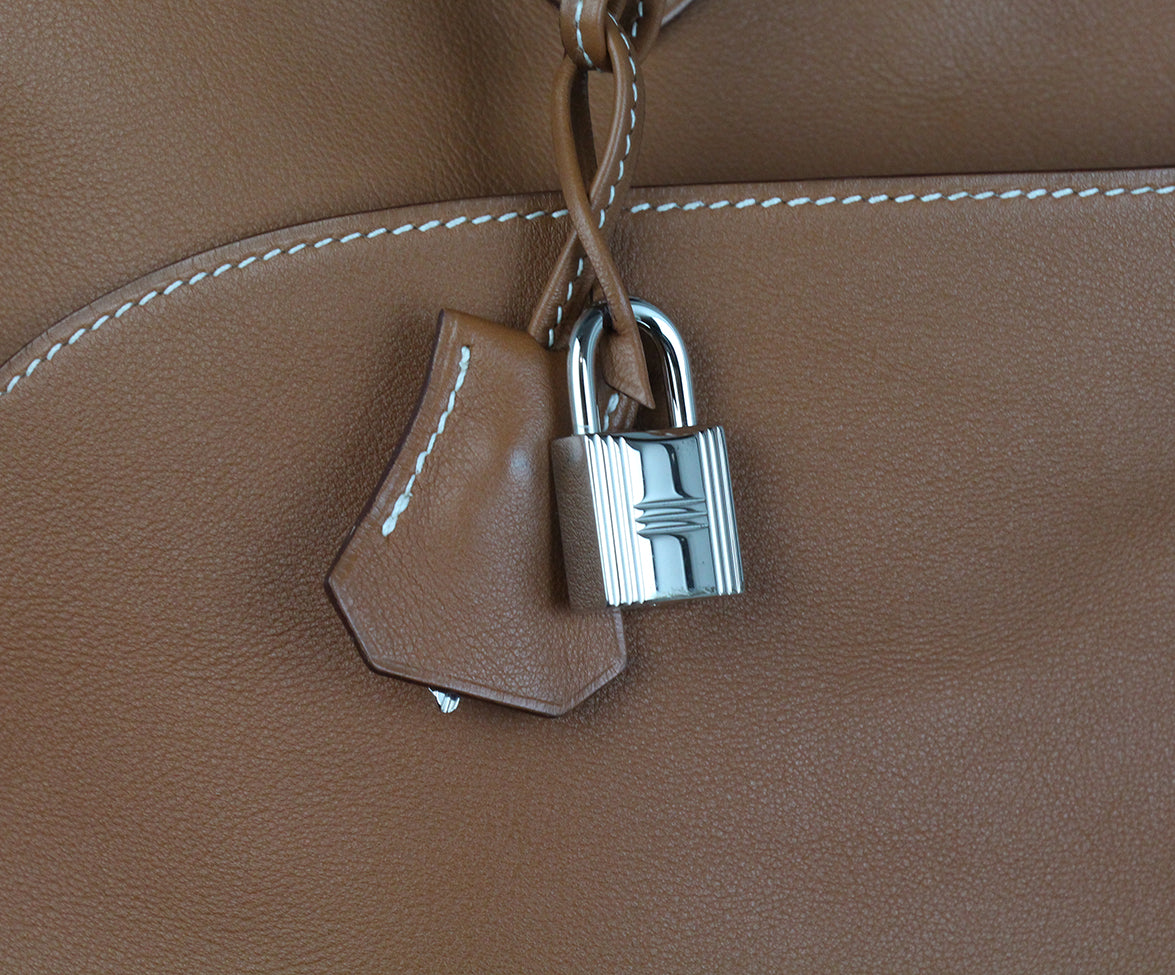 Hermes Tan Leather white stitching travel bolide bag 10