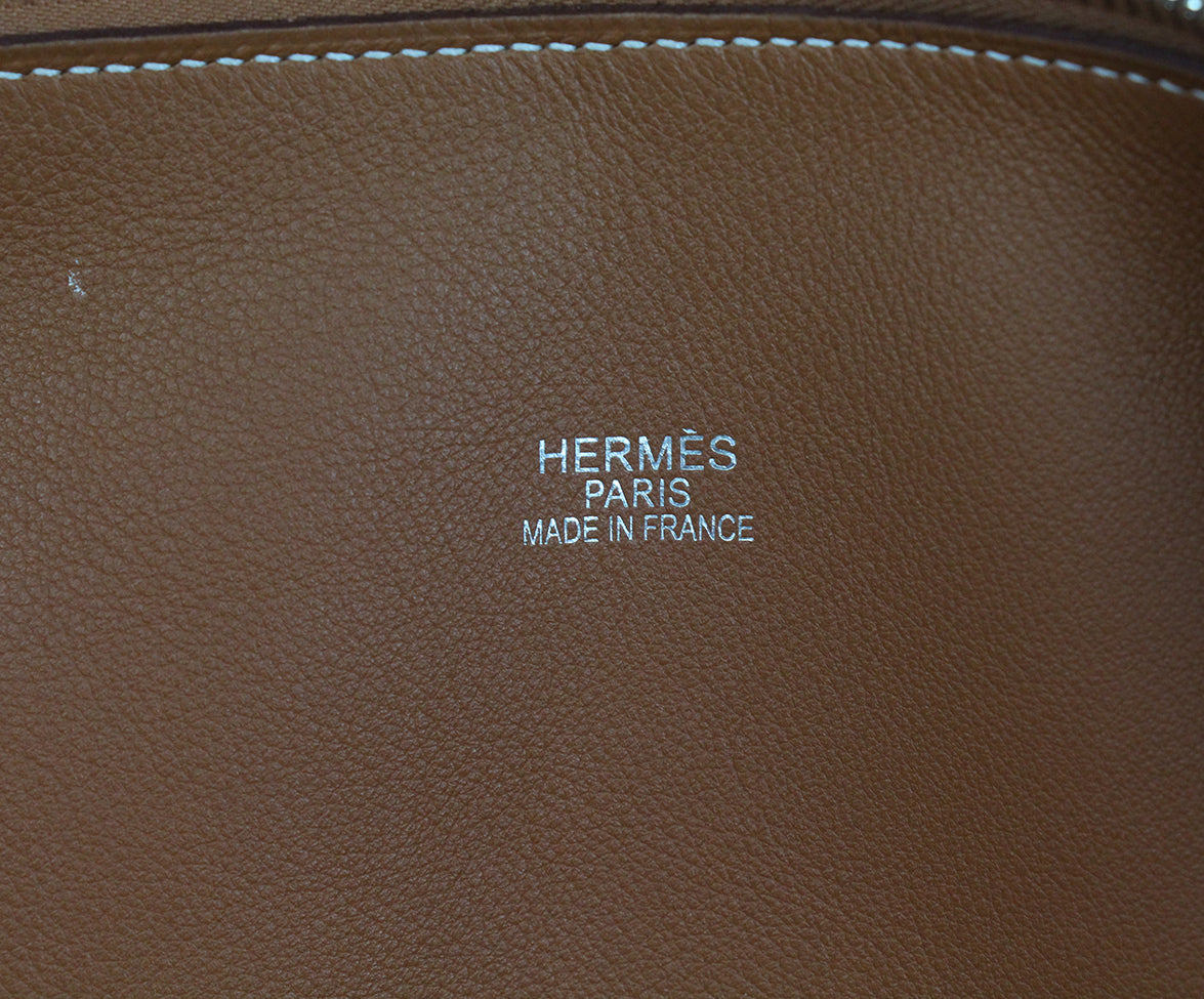 Hermes Tan Leather white stitching travel bolide bag 14