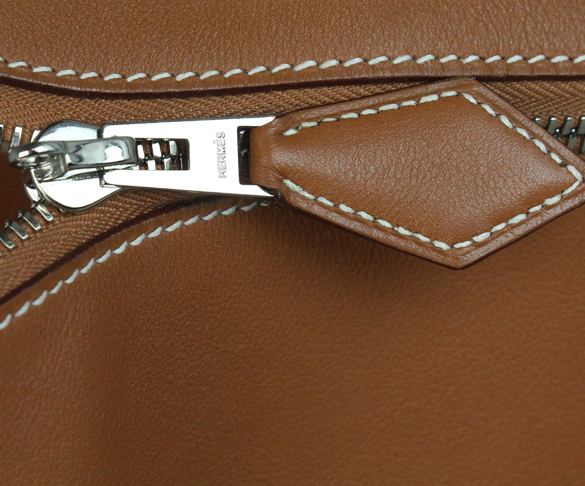 Hermes Tan Leather white stitching travel bolide bag 8