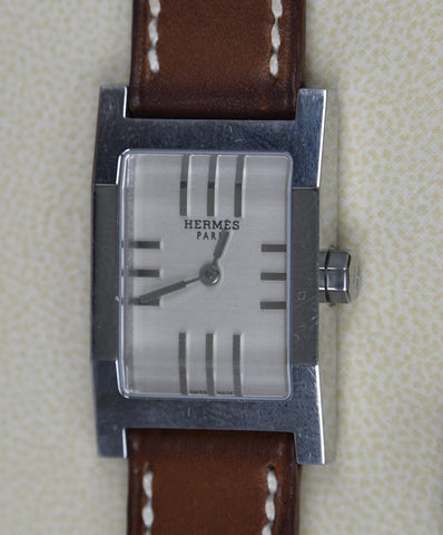 Hermes Brown Tan Leather Silver Metal Leather Goods Tandem Watch 4