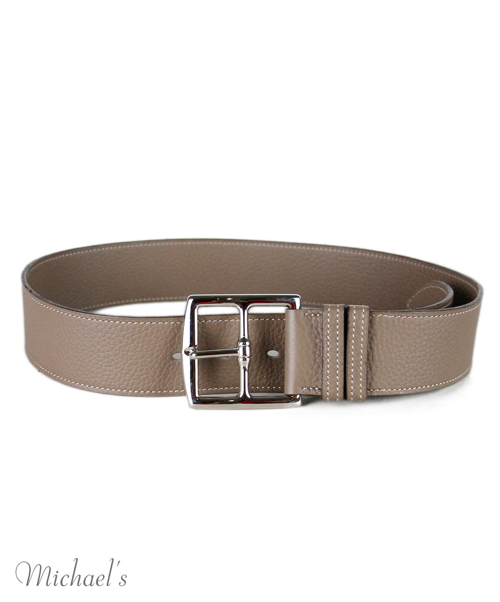 Hermes Taupe Leather Silver Hardware Belt