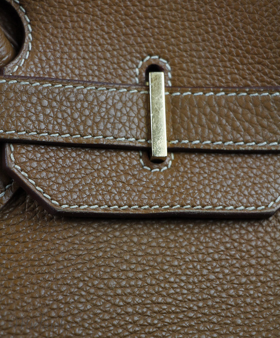 Hermes Tobacco Leather Gold Hardware 35 cm Birkin Handbag