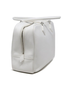 "Hermes White Leather 32"" Plume Handbag"