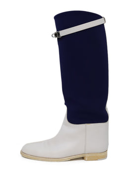 Hermès Limited Edition White Leather Blue Neoprene Boots 1