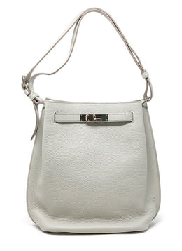 "Hermes ""Kelly Sport"" Grey Leather Handbag"
