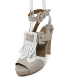 Hermes White Grey Leather Sandals 1