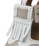 Hermes White Grey Leather Sandals 6