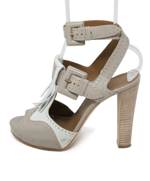 Hermes White Grey Leather Sandals 2