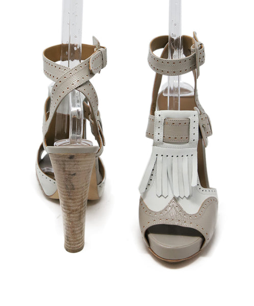Hermes White Grey Leather Sandals 3