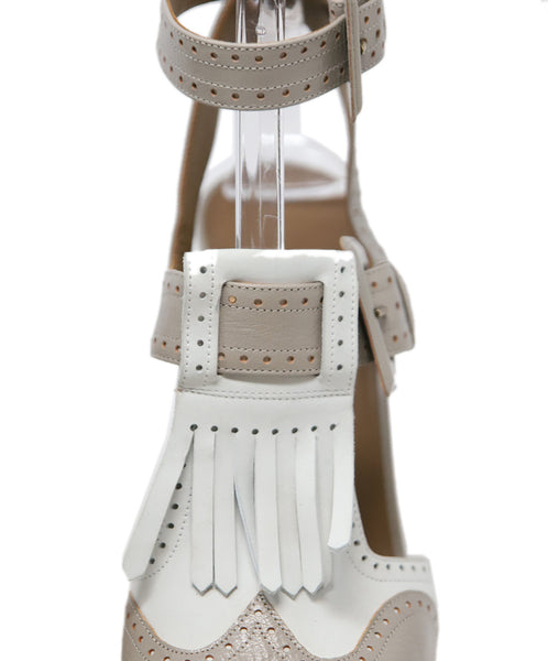 Hermes White Grey Leather Sandals 8