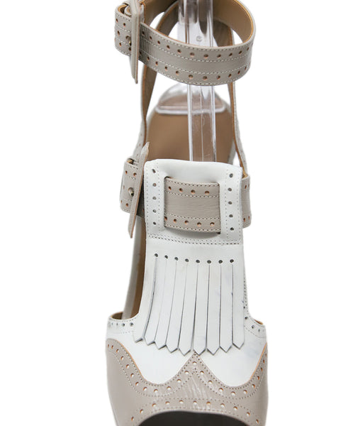 Hermes White Grey Leather Sandals 9