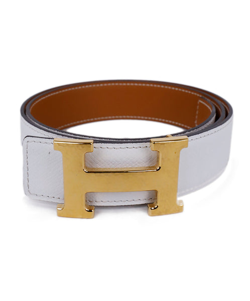 Hermes White Tan Leather Gold 'H' Buckle Belt 1