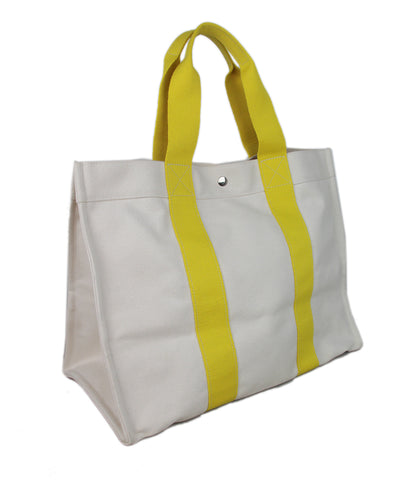 Hermes White Yellow Canvas Tote 1