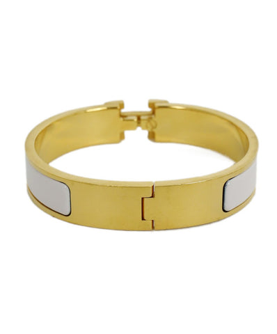 Hermes White Enamel Gold Clic H Bangle Bracelet 1