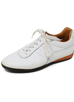 Hermes White Leather Sneakers