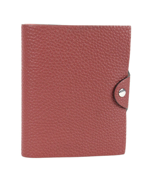 Hermes Red Wine Grained Leather Note Pad