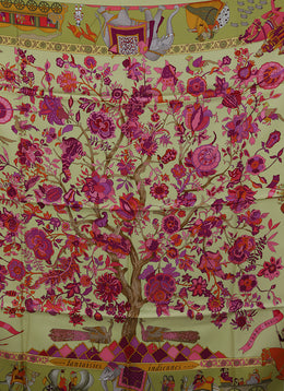 Hermes Yellow Chartreuse Orange Pink Print Silk Scarf