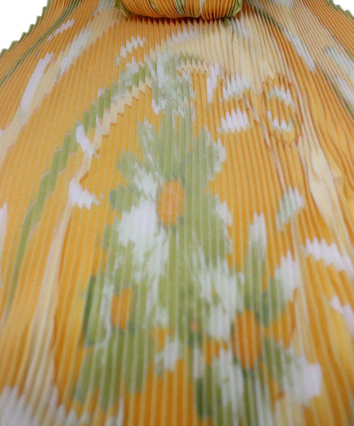 Hermes 'Au gre du Vent' Plisse Scarf Yellow with Green Floral Print 4