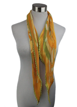 Hermes 'Au gre du Vent' Plisse Scarf Yellow with Green Floral Print 1