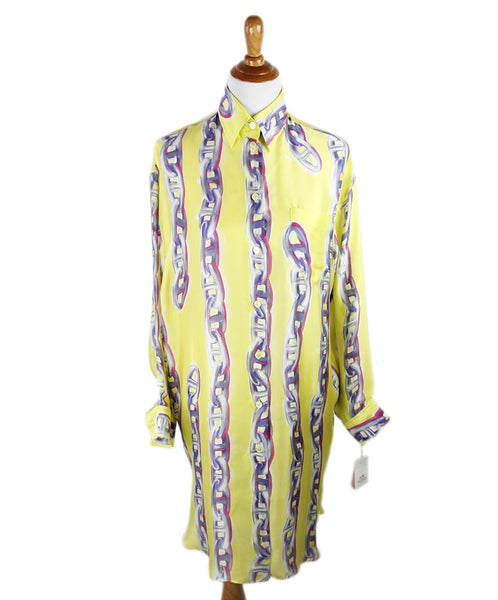 Hermes Yellow Silk Gray Fuschia Dress Sz 42