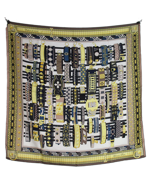 Hermes Yellow blue green Les Domes Celestes Scarf 3