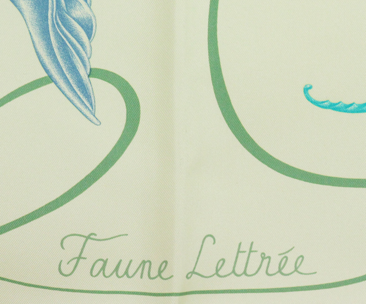 Hermes Yellow green blue Faune Lettree Scarf 5