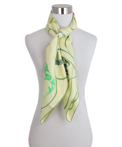 Hermes Yellow green blue Faune Lettree Scarf 4