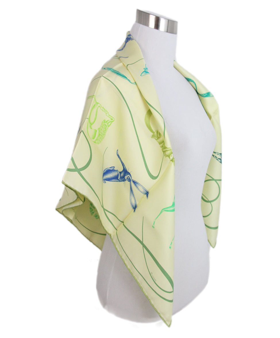 Hermes Yellow green blue Faune Lettree Scarf 1