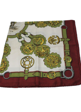 "Hermes ""Cuivreries"" White Burgundy Olive Silver Scarf 1"