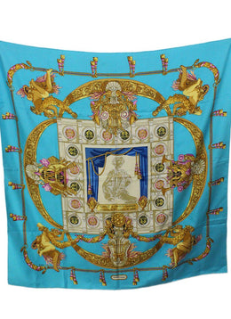 "Hermes ""Hommage A Charles Garnier"" Turquoise Gold White Silk Scarf 1"