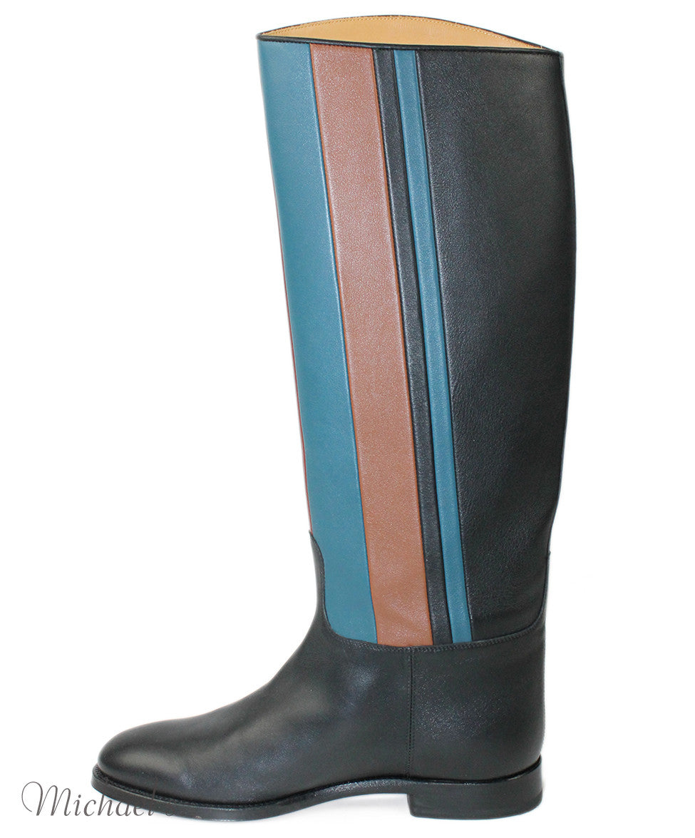 Hermes Black Red Blue Beige  Leather Boots Sz 37.5 - Michael's Consignment NYC  - 2