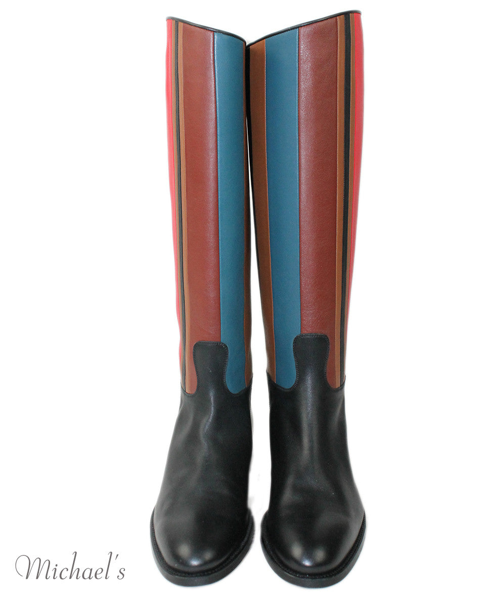Hermes Black Red Blue Beige  Leather Boots Sz 37.5 - Michael's Consignment NYC  - 4