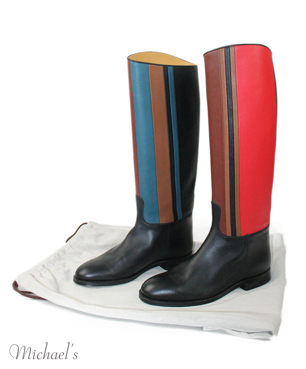 Hermes Black Red Blue Beige  Leather Boots Sz 37.5 - Michael's Consignment NYC  - 8
