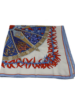 "Hermes ""Spices of the World"" Blue and Orange Print Scarf 1"