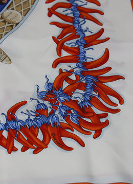 "Hermes ""Spices of the World"" Blue and Orange Print Scarf 2"