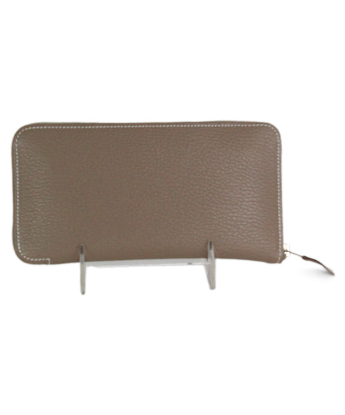 Hermes azap classic taupe leather wallet 1