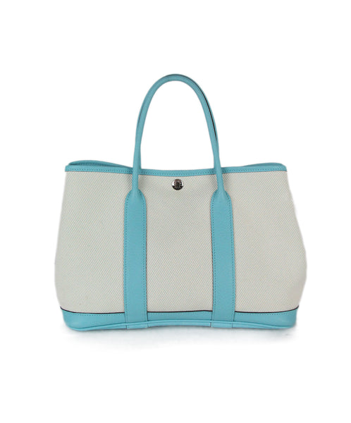 Hermes beige canvas aqua leather Garden Part 30 bag 1