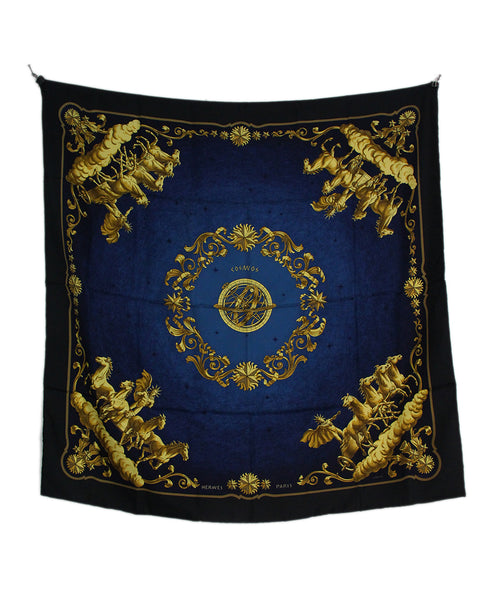 Hermes black blue gold Cosmos scarf 2